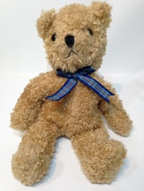 "TY Classic Plush Baby Curly Brown Bear 1992 Retired 12"" Plaid Bow - No Tag - $39.99"