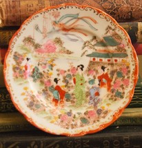 "BREAD PLATE JAPAN VINTAGE GEISHA PORCELAIN GOLD GILT 6.25"" W HAND SIGNED... - $17.99"