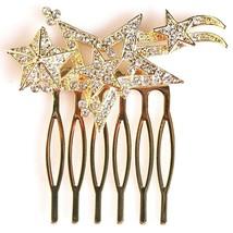 Nina Women's Prema Gold Finish Swarovski Multi-Star Wedding Bridal Hair Comb NWT
