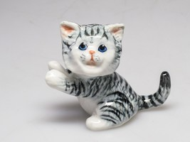 Handmade Miniatures Collectible Ceramic Porcelain Smiling Cat Pottery FI... - $5.45