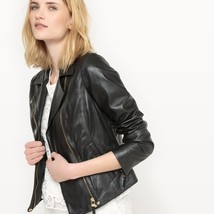Stylish Cropped Jacket with 3/4 Length Sleeve Women Genuine Leather biker Jacket