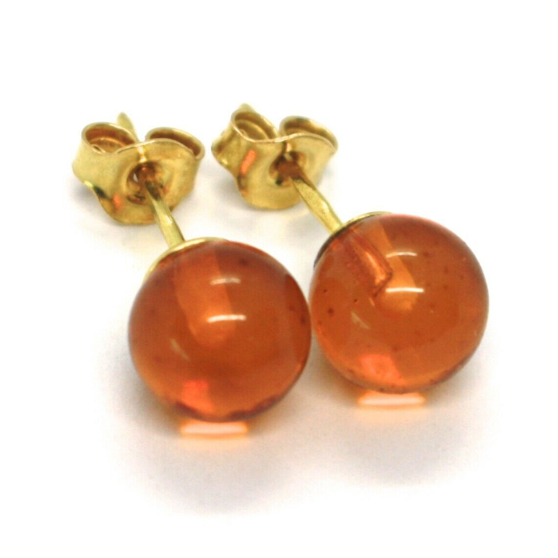 SOLID 18K YELLOW GOLD LOBE EARRINGS, ORANGE AMBER 8 MM SPHERES BUTTERFLY CLOSURE