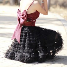 Black Knee Length Layered Tulle Skirt Plus Princess Tulle Skirt Holiday Outfit image 3