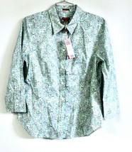 Talbots Haberdashery Aqua Lavender Paisley Fitted Long Sleeved Blouse 8 ... - $39.00