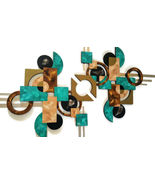 Contemporary Wall Sculpture, Grotto Teal and Brown 2pc Abstract Square W... - $346.49
