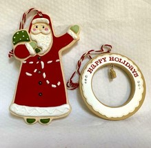 Hallmark Ornament Lot of 2 Santa and Wreath - $4.94