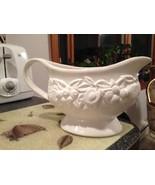 Vintage Porcelain Ceramic White Fruit Shaped Gravy Boat Pitcher Unique V... - $22.99