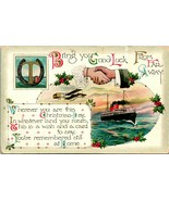 1914 W&K Postcard Bring You Good Luck From Far Away Christmas Airplane S... - $19.95