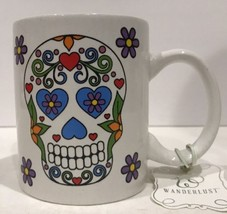 Halloween Skull Home Essentials Coffee Mug Skeleton Wanderlust 15 oz Whi... - $18.80