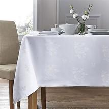 "Woven Damask Rose White Circular Round Tablecloth 35"" (89CM) & 4 Napkins - $24.12"