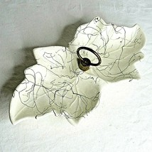Leaf Shaped Divided Nut Candy Dish White Black Drizzle Made in USA No.8 ... - $24.75