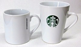 LOT of (2) STARBUCKS COFFEE CO. WHITE CERAMIC MUGS 16 oz + 15.2 oz MERMA... - $44.88
