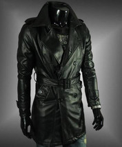 Men Leather Coat Winter Long Leather Coat Genuine Real Leather Trench COAT-UK36 - $214.46