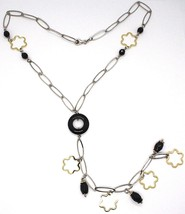 Necklace Silver 925, Onyx Black, Pendant Flowers, Daisy, Waterfall image 2