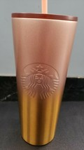 New Starbucks Fall 2020 Rose Pink to Gold Ombre Stainless Steel 24 oz Tu... - $44.66