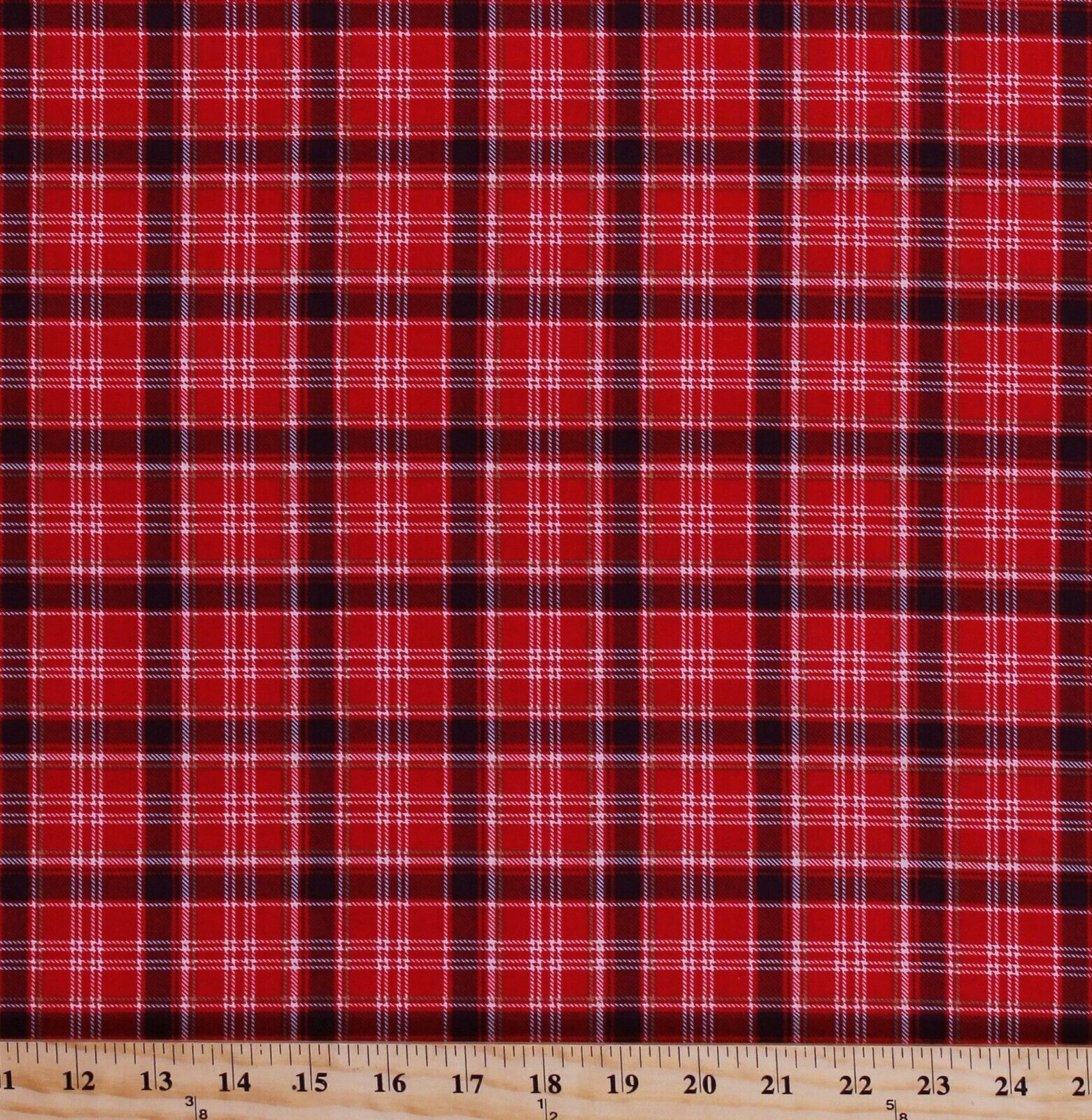 Primary image for Cotton Plaid Red Black Checkered Checks Northwoods Fabric Print by Yard D362.33
