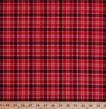 Cotton Plaid Red Black Checkered Checks Northwoods Fabric Print by Yard ... - $11.95