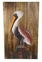 Hand Carved and Painted Nautical Pelican on Pallet Wood Wall Art Painting Pictur - $34.59