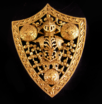 Vintage Signed Medieval Brooch - huge coat of arms - gold knight Shield  - $125.00
