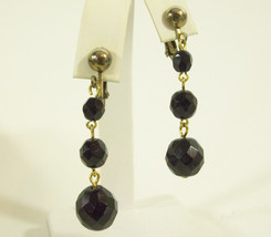 Jet BLACK Glass Faceted Beads Balls Dangle Clip Earrings Vintage SEXY Pa... - $16.82