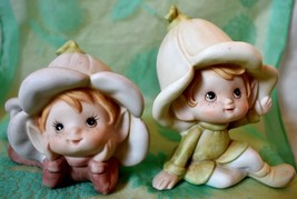 Homco Pixie Elves 5615 set of 2 with Flower Hats Figurines laying and sitting - $10.39
