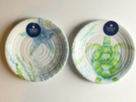 Sea Turtle or Starfish Melamine Plates Set of 4 Salad Dessert Coastal Li... - $32.70