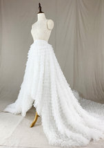 White High Low Tulle Skirt White Bridal Wedding Skirt with Train image 8