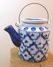 """Miniature Tea Pot Pier 1 Blue and White with Wire Handle 3""""  D - $14.40"""