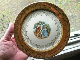 Set of 5 Atlas China Taylor Smith Victorian Couple 22K bread/dessert pla... - $18.81