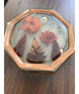 Retro Vintage Acrylic Lucite Octagon Flower With Fronds Trivet - $18.75