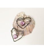Large sterling silver earrings, shining pink hearts, Art Nouveau style - £44.75 GBP