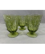 9 Vintage Fostoria Mesa Olive Green Glass Footed Water Goblet, 13 oz Sun... - $42.95