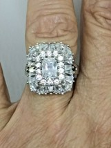 Swarovski Cz Emerald Cut Engagement Ring With Rounds & Baguettes SZ5.5 - $73.69
