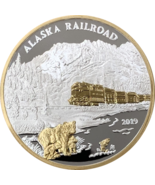 2019 Official Alaska Railroad Medallion with 24k Gold Relief 1oz Proof - $108.89