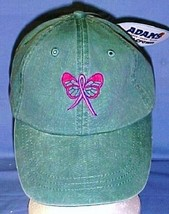 Breast Cancer Baseball Hat Awareness Pink Butterfly Ribbon Washed Green New - $17.43