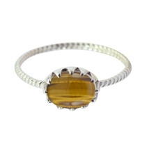Genuine Gems Oval Cabochon Tiger Eye ring 925 Silver  greatest gift for ... - $14.99