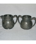 "Pairpoint Mfg Co Quadruple Plate Sugar Bowl Creamer Pair ""Floral Fruit"" ... - $19.99"