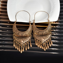 Vintage Bohemian Ethnic Golden and Silver Alloy Tassel Drop Earrings for... - $7.55