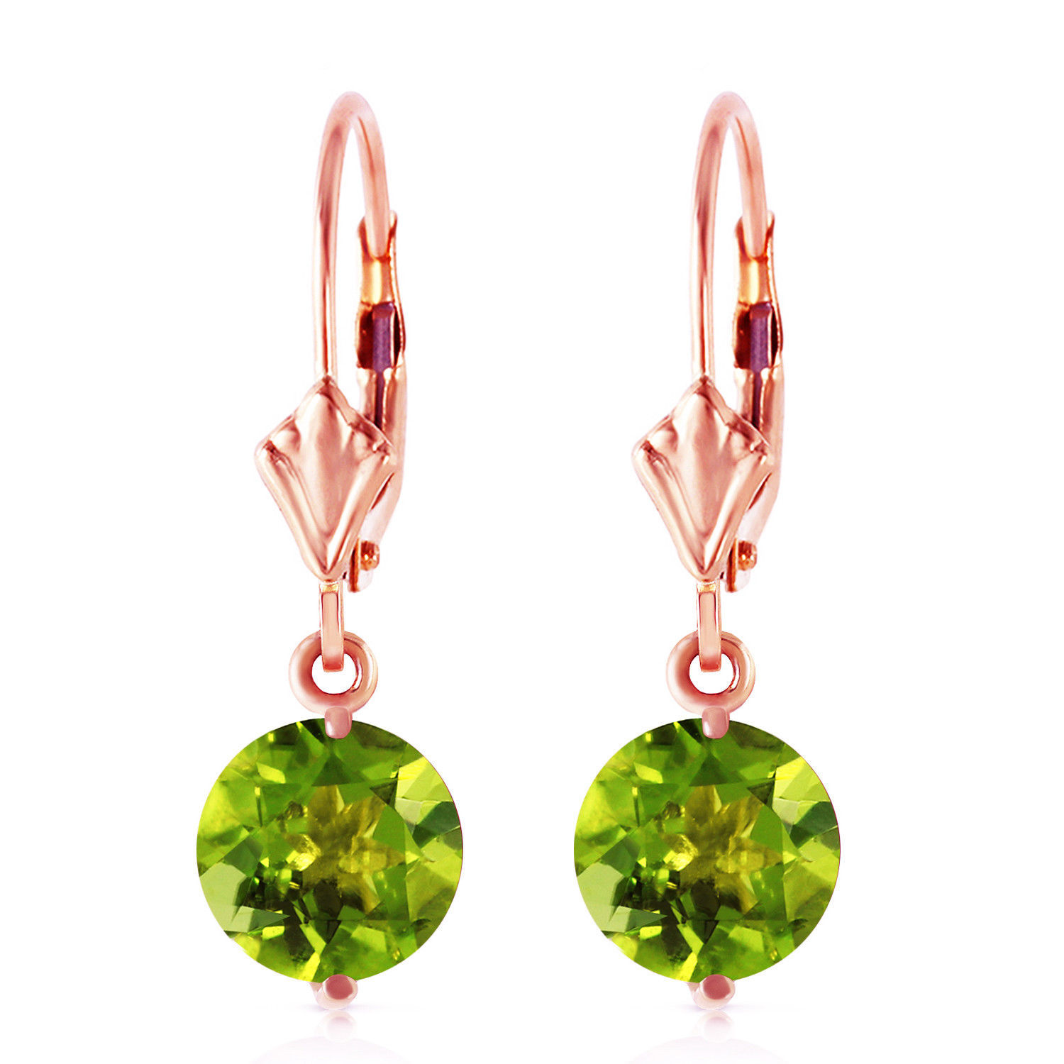 Primary image for 3.1 Carat 14K Solid Rose Gold Youth Peridot Earrings