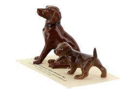 Hagen Renaker Dog & Puppy Labrador Retriever Chocolate Ceramic Figurine Set image 4