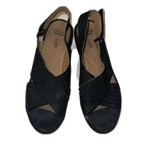 Clarks Collection Soft Cushion Black Suede Leather Platform Wedge Sandal... - $19.55