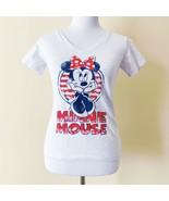 Walt Disney Workd Minnie Mouse V-Neck Shirt Top T-Shirt Womens Small Whi... - $19.99