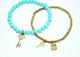 vintage beaded bracelet set owl key gold turquoise blue lot - $8.90