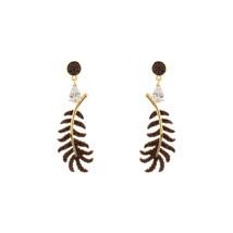 Sterling Silver Tear Drop CZ +Black CZ Feather Drop Dangle Earrings/925 - $79.19