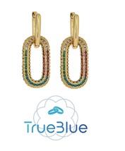 Gold Plated Cubic Zirconia Copper Drop Earrings Wonder Women Fashion Jew... - $14.07