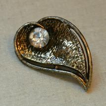 Vintage jewelry signed AJC A.J.C. rhinestone dark tone leaf brooch pin - $8.90