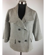 Talbots Womens Jacket 8 Ivory Gray Wool Houndstooth Double Breasted 3/4 ... - $39.59