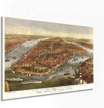 1870 Map of New York City Poster - Vintage Map Wall Art - Panoramic New ... - $34.99+