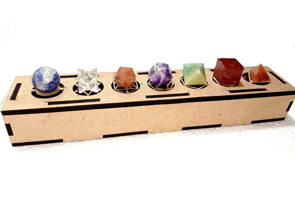 Primary image for Seven Chakra Sacred Geometry 7 Piece with Merkaba Star Platonic Setwith Wood Box