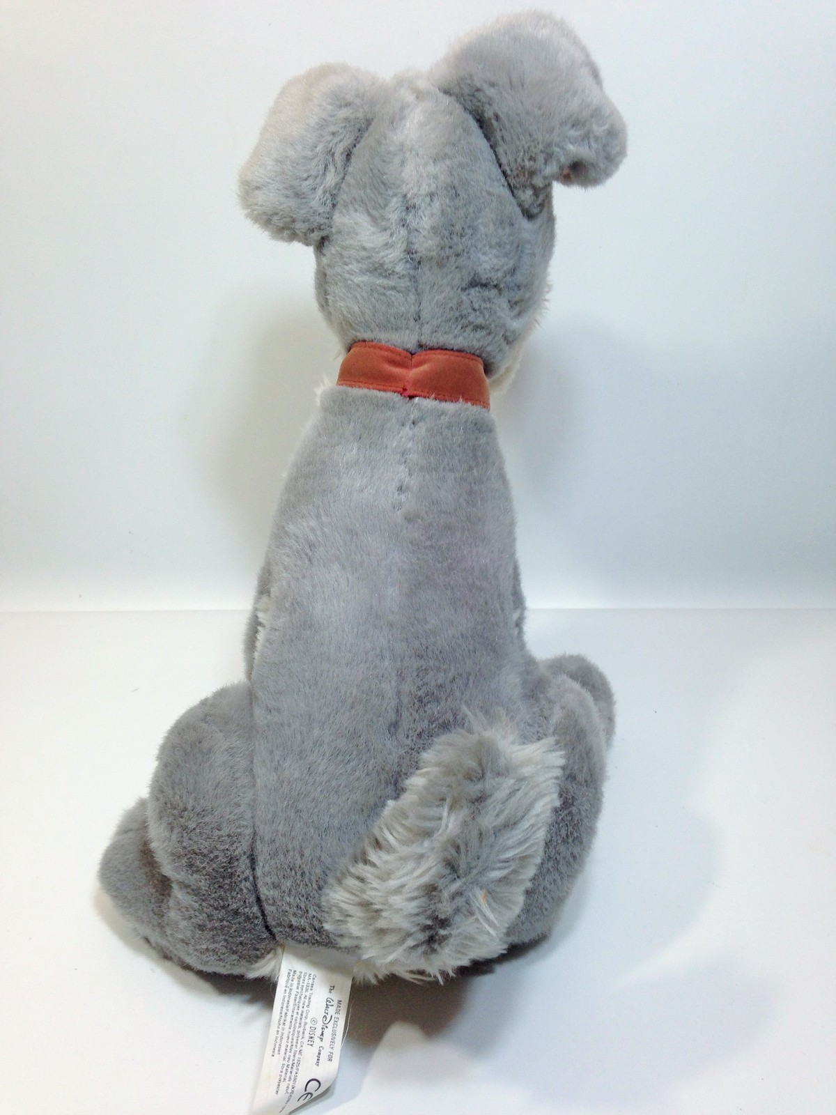 "Vintage Disney Tramp Plush Dog Grey Stuffed Animal Metal DogTag 14"" image 6"